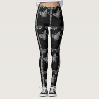 Butterfly Butt Boho Vintage Lace Black and White Leggings