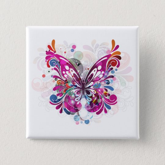 Butterfly ~ Butterflies Customise Template 15 Cm Square Badge