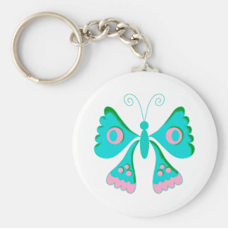 Butterfly Butterflies  Kids Stuff Basic Round Button Key Ring