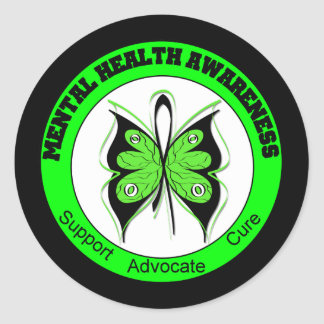 Butterfly Circle Mental Health Awareness Round Sticker
