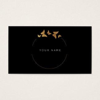 Butterfly Circles Golden Foil Black Vip Business Card