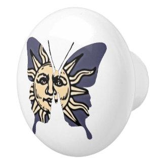 Butterfly Collage Celestial Sun Ceramic Knob
