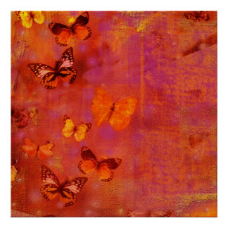 Butterfly Collage in Red and Orange Poster