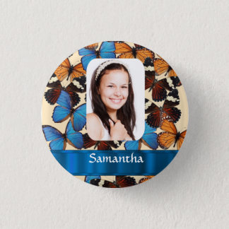 Butterfly collage photo template 3 cm round badge