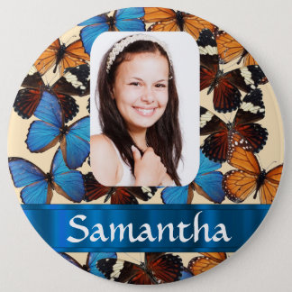 Butterfly collage photo template 6 cm round badge
