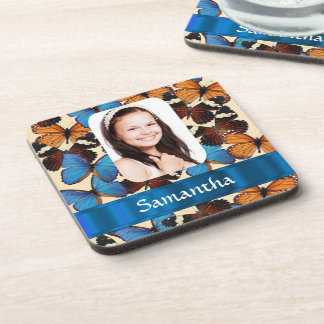 Butterfly collage photo template coaster