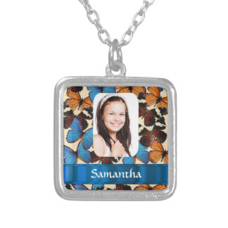 Butterfly collage photo template silver plated necklace