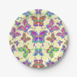 Butterfly Colorful Tattoo Style Paper Plate