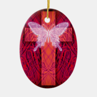Butterfly cross christmas ornament
