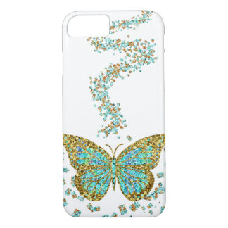 Butterfly Crystal Gold Glitter Confetti Mint Teal iPhone 8/7 Case