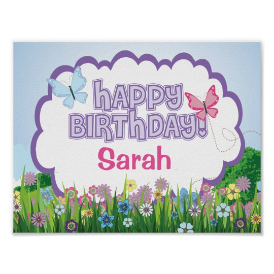 Butterfly, Custom Birthday Party Poster