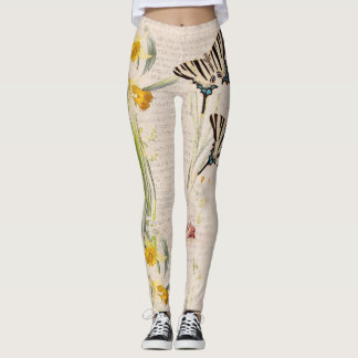 Butterfly Daffodil Flowers All Over Print Leggings