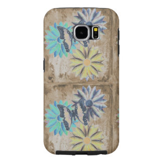 Butterfly Daisies Flowers on Grunge Samsung Case