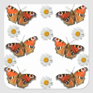 Butterfly Daisy Square Sticker