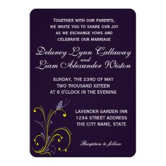 Butterfly | Dark Royal Purple & Sunny Lemon Yellow 13 Cm X 18 Cm Invitation Card