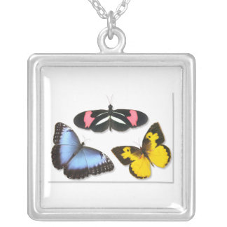 Butterfly Delight Square Pendant Necklace