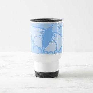 Butterfly Design in Blue. Stainless Steel Travel Mug