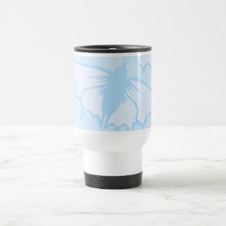 Butterfly Design in Pastel Blue. Coffee Mugs