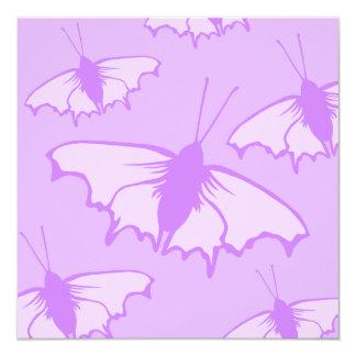 Butterfly Design in Purple. 13 Cm X 13 Cm Square Invitation Card