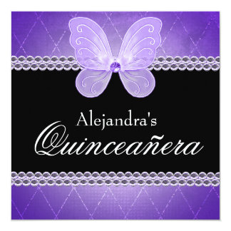 Butterfly Diamonds Purple Quinceanera 13 Cm X 13 Cm Square Invitation Card