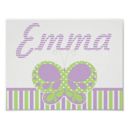 Butterfly Dots Personalised Name Wall Print 2