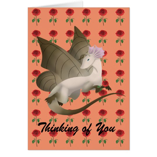 Butterfly Dragon Greeting Card Roses