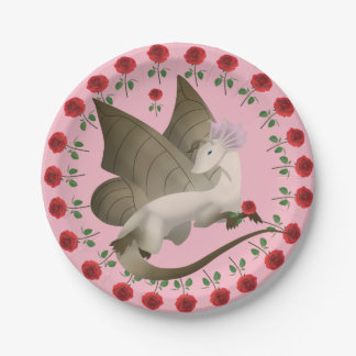 Butterfly Dragon Roses Paper Plates
