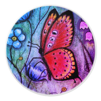 """Butterfly Dream"" Ceramic Knob"