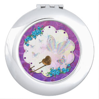 Butterfly Dream Scene Jeweled Mirror For Makeup