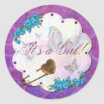 Butterfly Dream Scene Jewelled ITS A GIRL Round Stickers