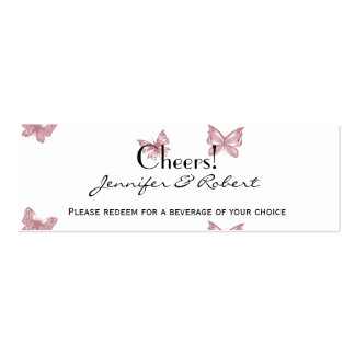 Butterfly Dreams: Dusty Rose Wedding Drink Tickets Business Card Templates