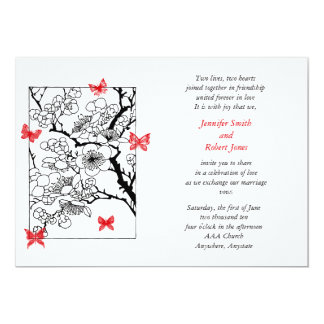 """Butterfly Dreams: Japanese Inspired Art Red 5"""" X 7"""" Invitation Card"""