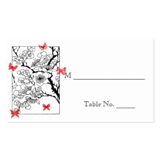 Butterfly Dreams: Red Wedding Place Cards Business Cards
