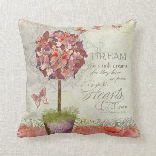 Butterfly Dreams Swirl Tree Inspirational Chic Throw Pillow
