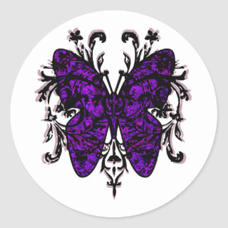 Butterfly Effect (purple) Round Sticker
