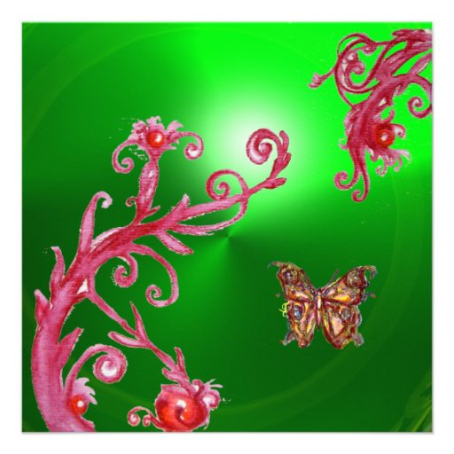 BUTTERFLY  EMERALD GREEN bright pink,red Personalized Invites