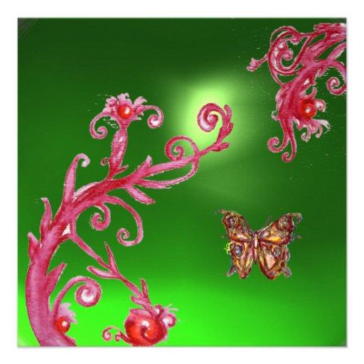 BUTTERFLY  EMERALD GREEN bright pink,red Custom Invitation