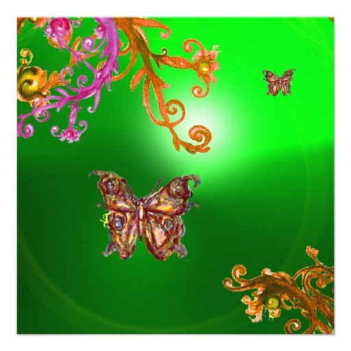 BUTTERFLY EMERALD GREEN, bright pink yellow brown Invitation