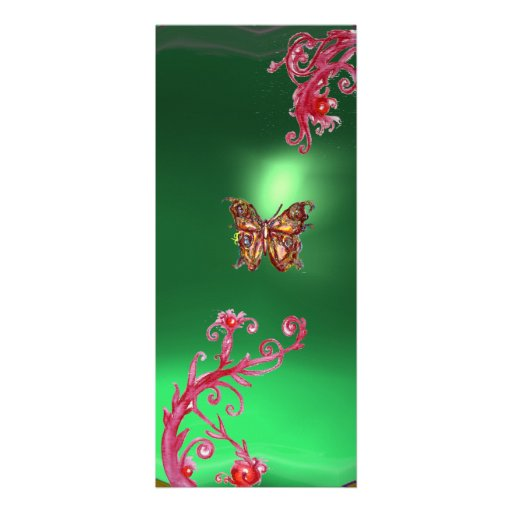 BUTTERFLY EMERALD ,green bright red pink violet Personalized Invite