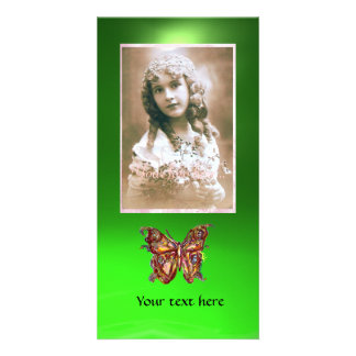 BUTTERFLY EMERALD GREEN ,red Picture Card