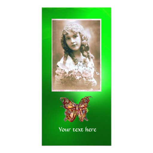 BUTTERFLY EMERALD ,red green Personalized Photo Card
