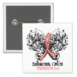Butterfly Endometrial Cancer Awareness Buttons