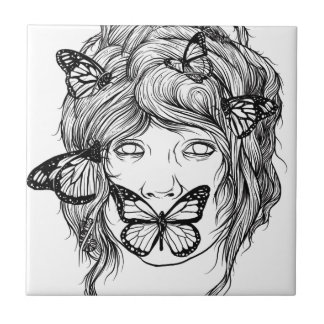 BUTTERFLY EXPRESSION BLACK AND WHITE CERAMIC TILES