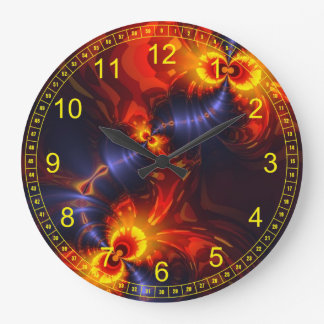 Butterfly Eyes - Violet & Gold Wings Abstract Round Wallclock