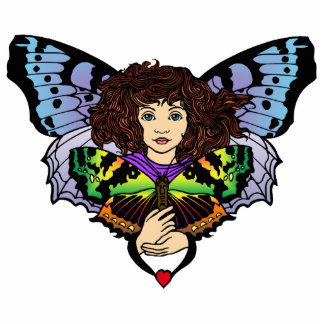 Butterfly Faerie Pin Photo Sculpture Badge