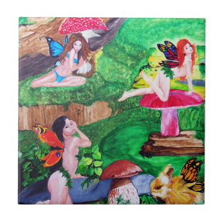 Butterfly Fairies Watercolor Painting Tile