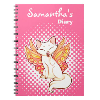 Butterfly Fairy Kitty Personalized Pink Diary Notebooks