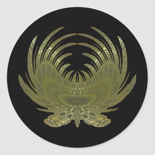 Butterfly Feathers gold Round Sticker