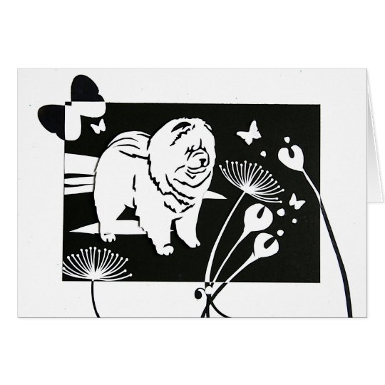 BUTTERFLY FIELDS Chow papercut Card