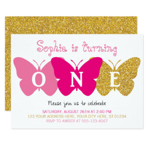 Butterfly First Birthday Invitation